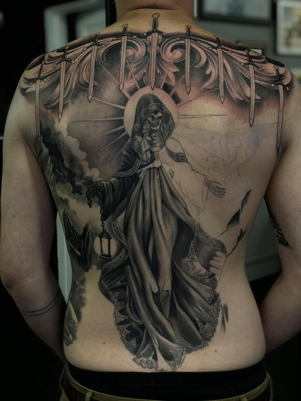 One step closer to a finished back piece. Artist is Lewis Amaya @ Monster Ink in Albany, CA