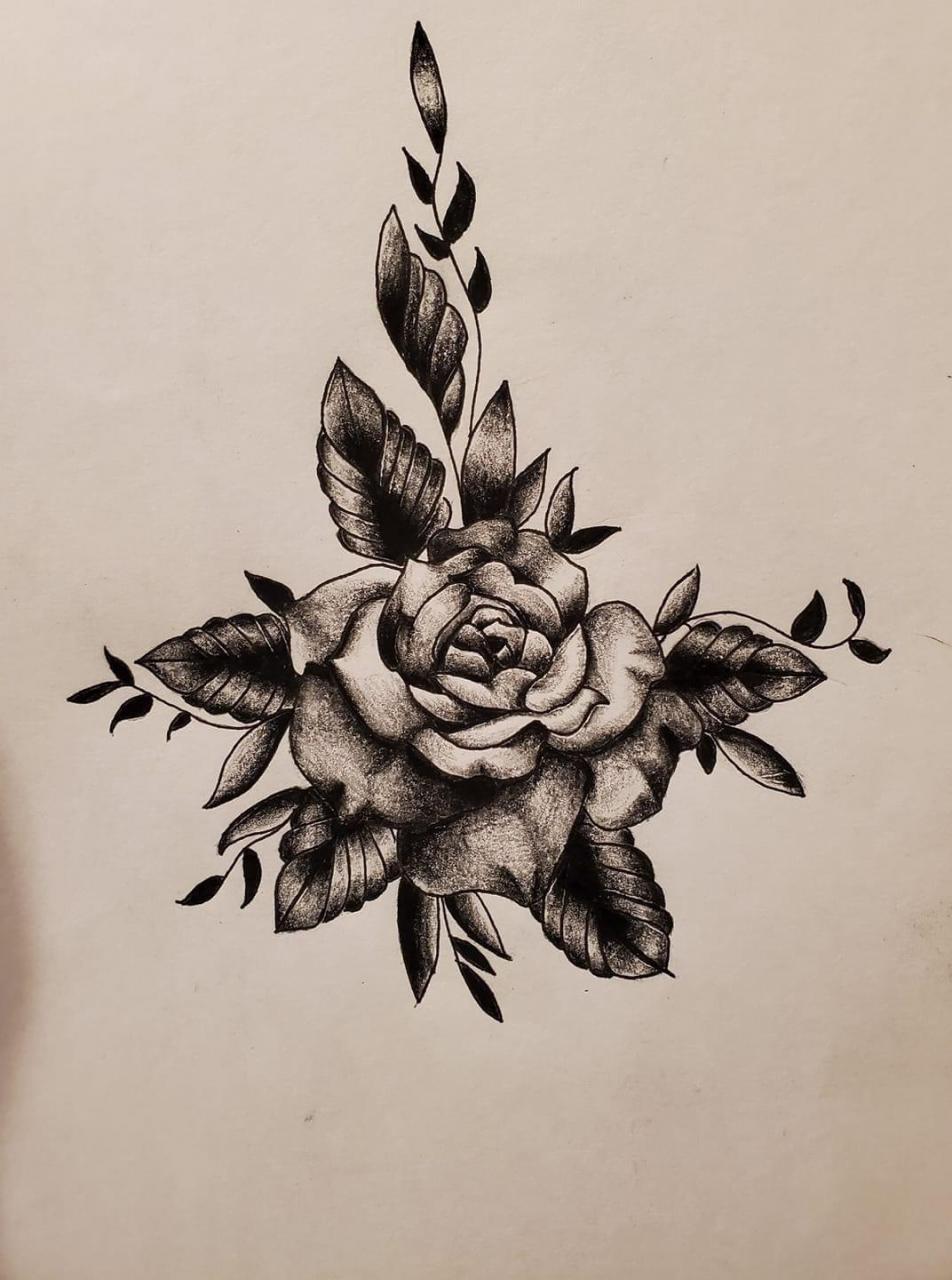Black work style rose. Hope y'all like it.