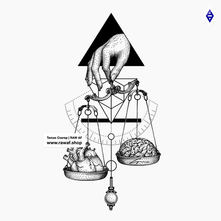 """Which weighs more, your heart or your brain? """"Libra"""" dotwork tattoo design available now, download and check the full tattoo design gallery with almost 200 designs: www.rawaf.shop 🔥 Follow me on Instagram (@the_rawflow), new designs uploaded every week. Thank you for your support, take care! 🙏"""