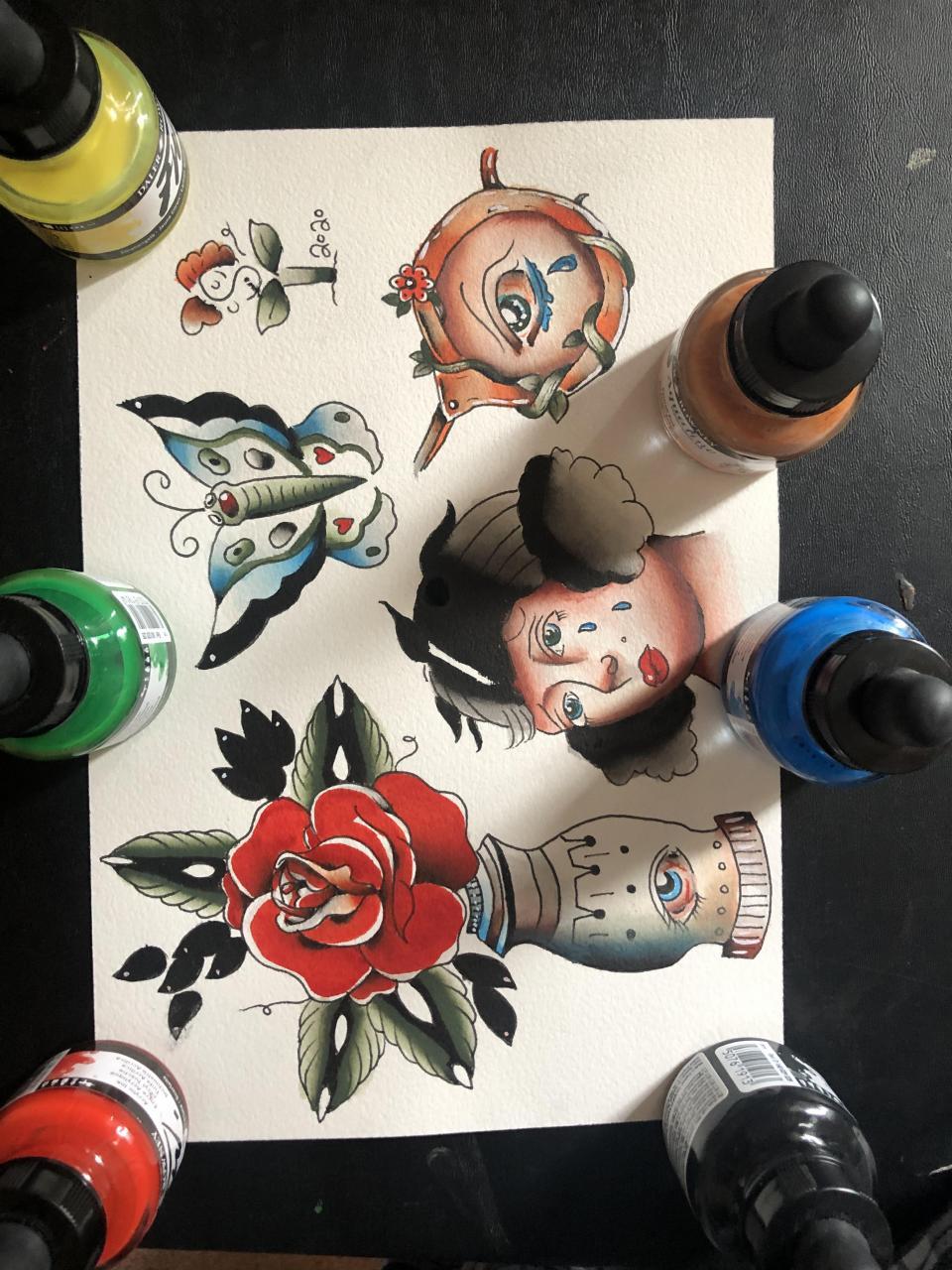 practice flash sheet using fw acrylic ink / ig: terracottapulmonata