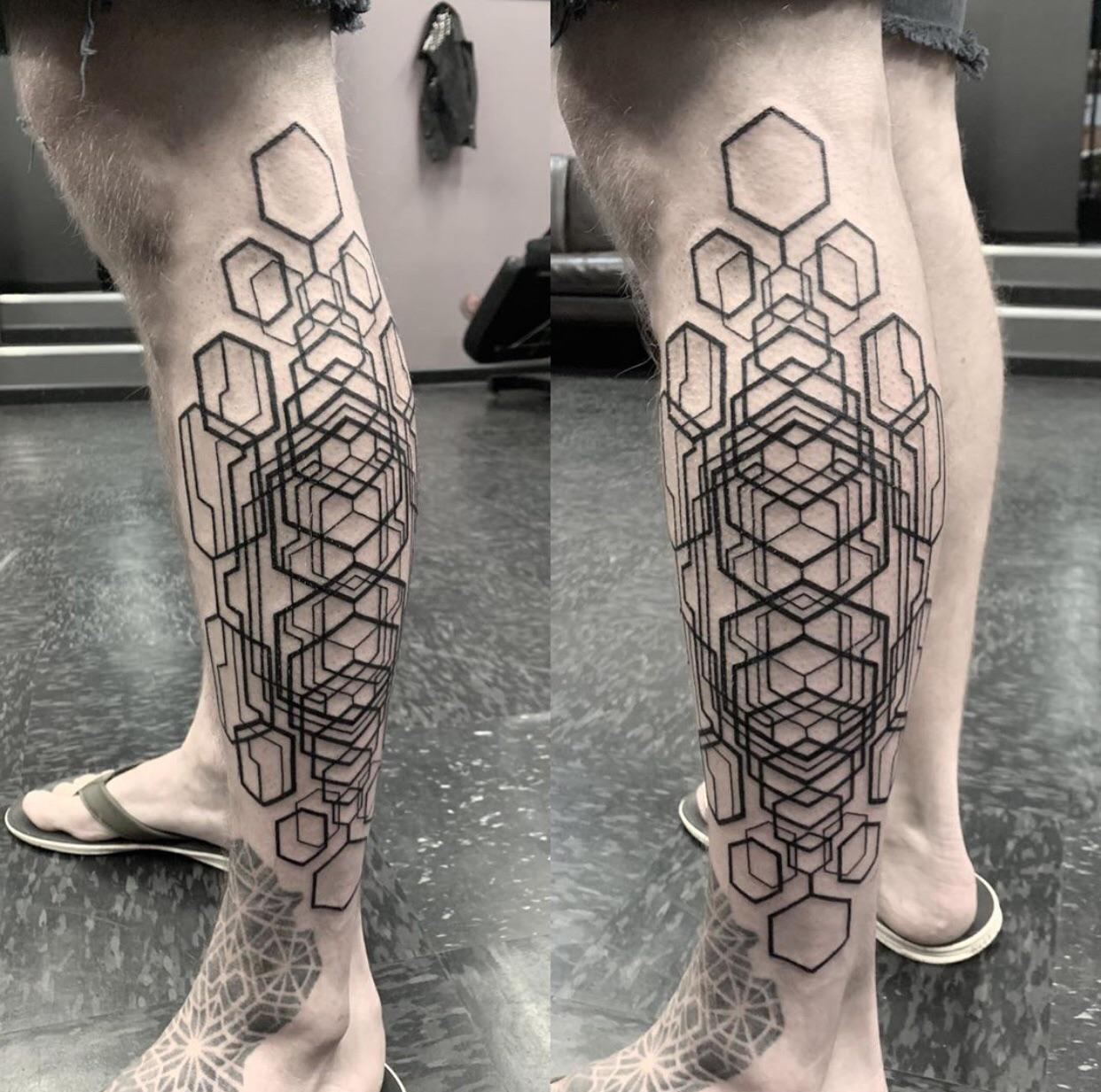 Geometric leg panel by Cassady Bell at Side Show Alley in Portland, OR