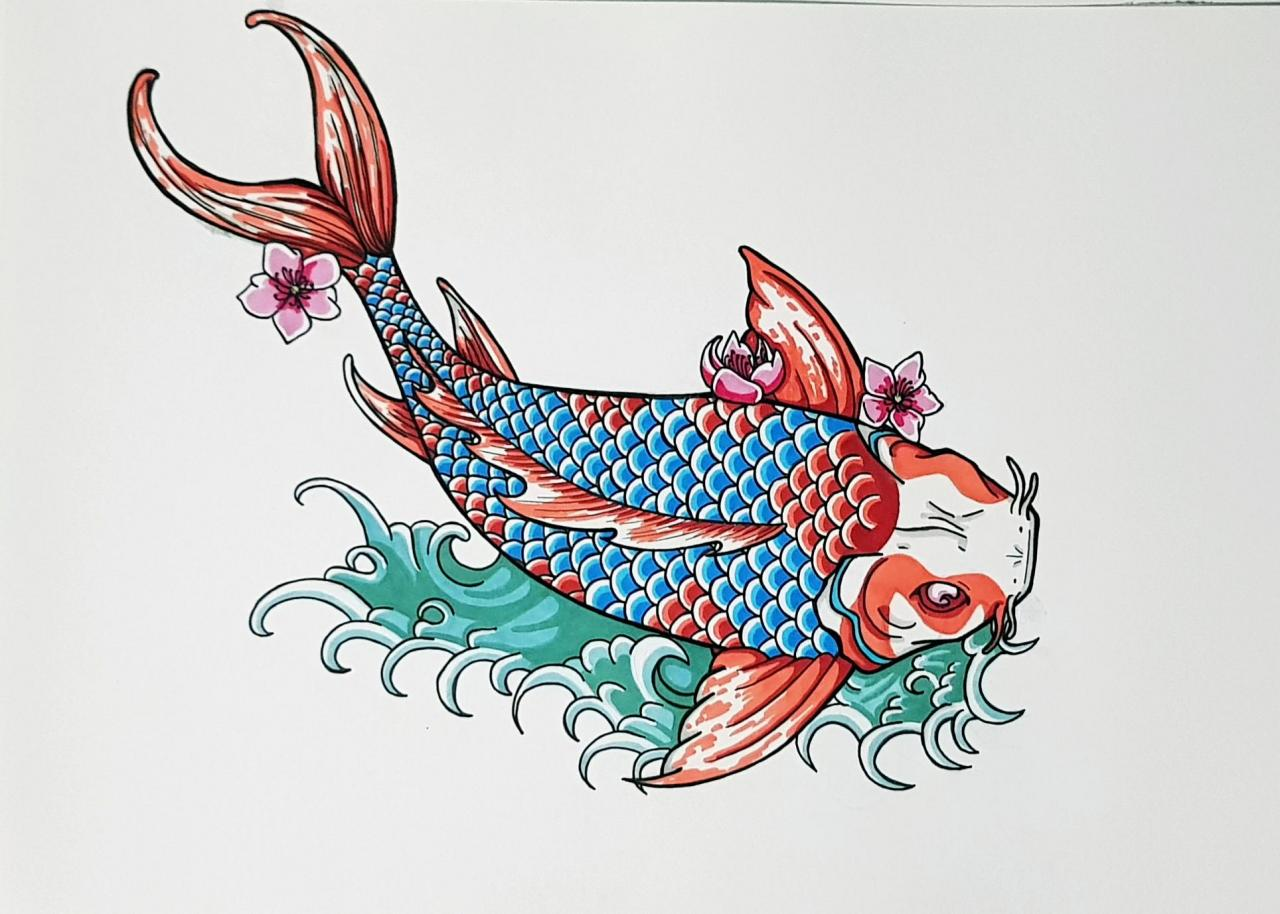 As promised my own koi fish design using all the advice I got here last time. Hope you guys like it :)