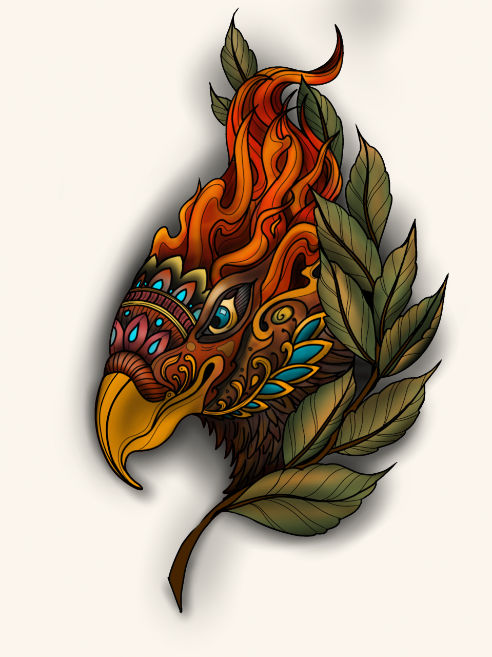 I've been working on trying to be more creative in my designs, so I like to challenge myself to combine different subjects and styles. This one is a neo traditional eagle influenced by a thai Naga, morphed with a torch.