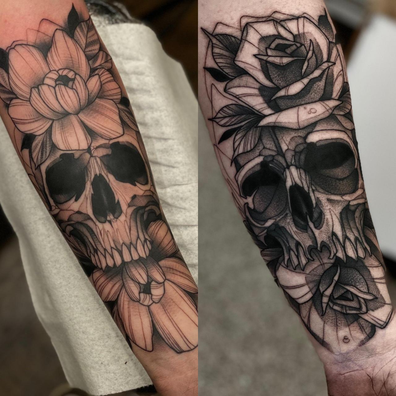 Pre quarantine vs post quarantine progress on skulls and flowers!