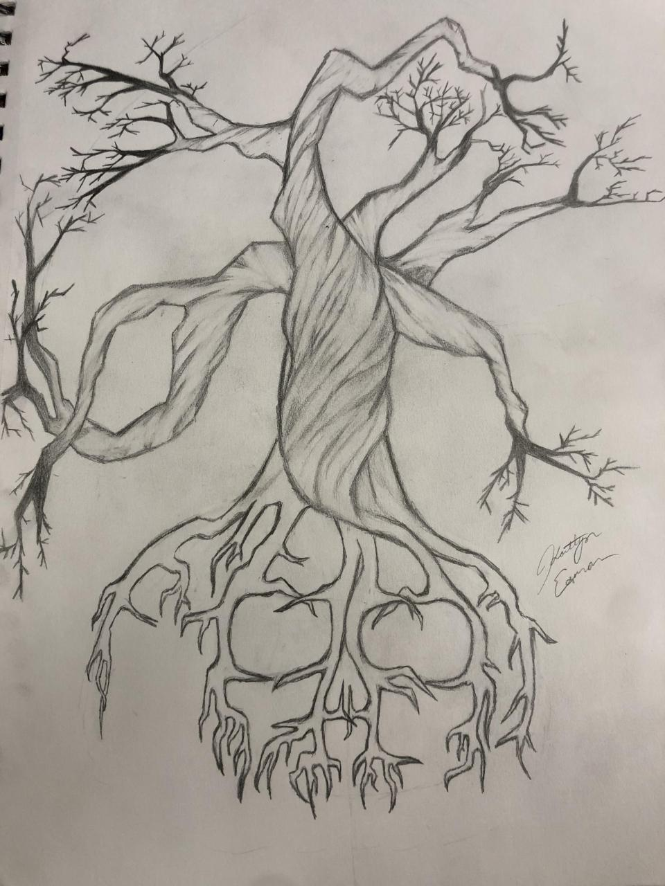 Finished the design for my dad's tree of life tattoo! I decided to stylize the roots to make a skull without being too obvious. I might go in and shade the roots up, but this is my idea for his tree of life tattoo.