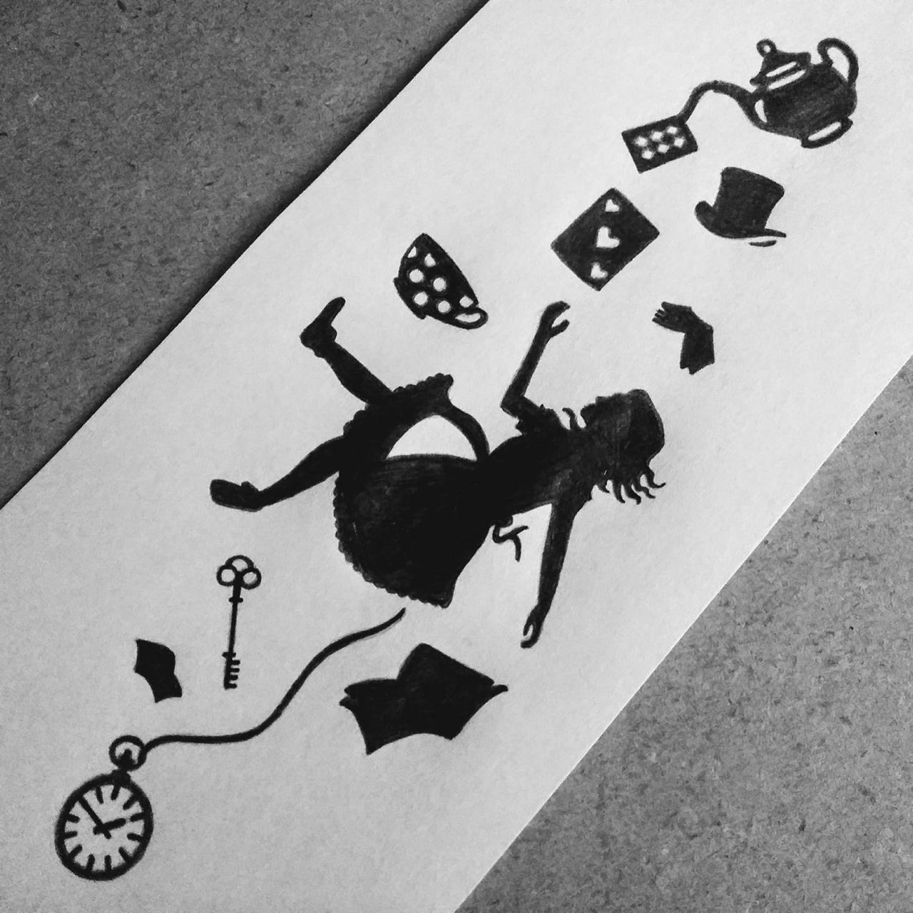 Alice in Wonderland silhouette tattoo design I made