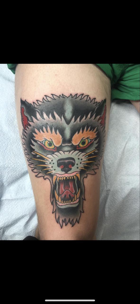 Wolf done by Joseph of guru tattoo in San Diego a few years back.