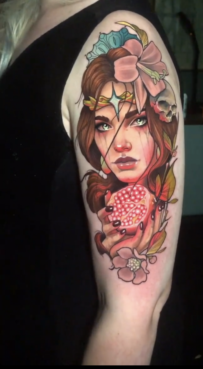 Persephone Arm Tattoo by Levi Murphy at Clockwork Tattoo in Bedford, PA