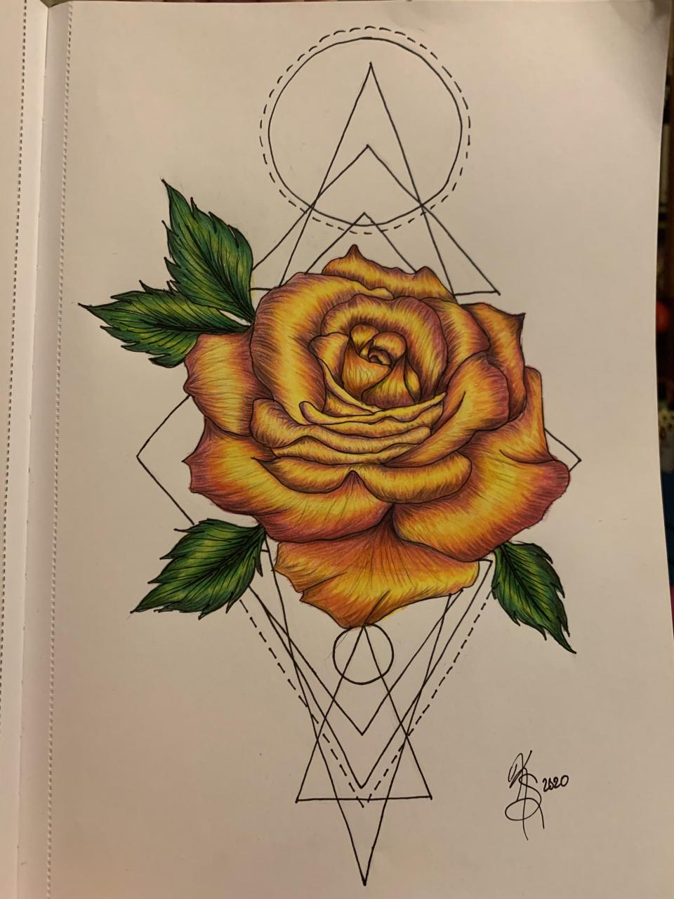 Geometric Rose design. I messed up on the bottom lines but I'm overall very happy with the turnout.