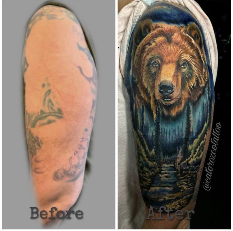 Bear coverup by Cat Orozco @ Faces in the Dark, Kyle, TX