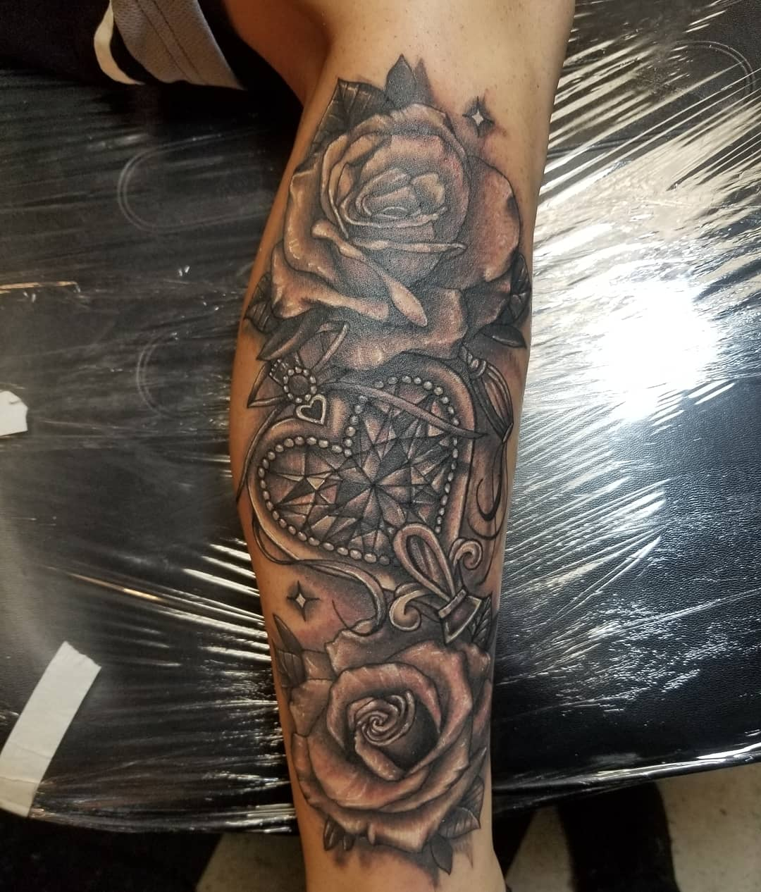 Leg piece by Taylor O' Cuinn of New American Tattoo Company, Baltimore,MD