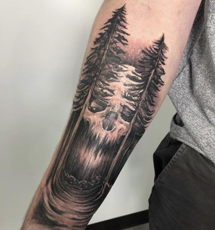Hey guys wanting to add on to this tattoo and looking for ideas on either the backside or potentially transition to full sleeve. Going for life and death vibe for each arm (this one is death)