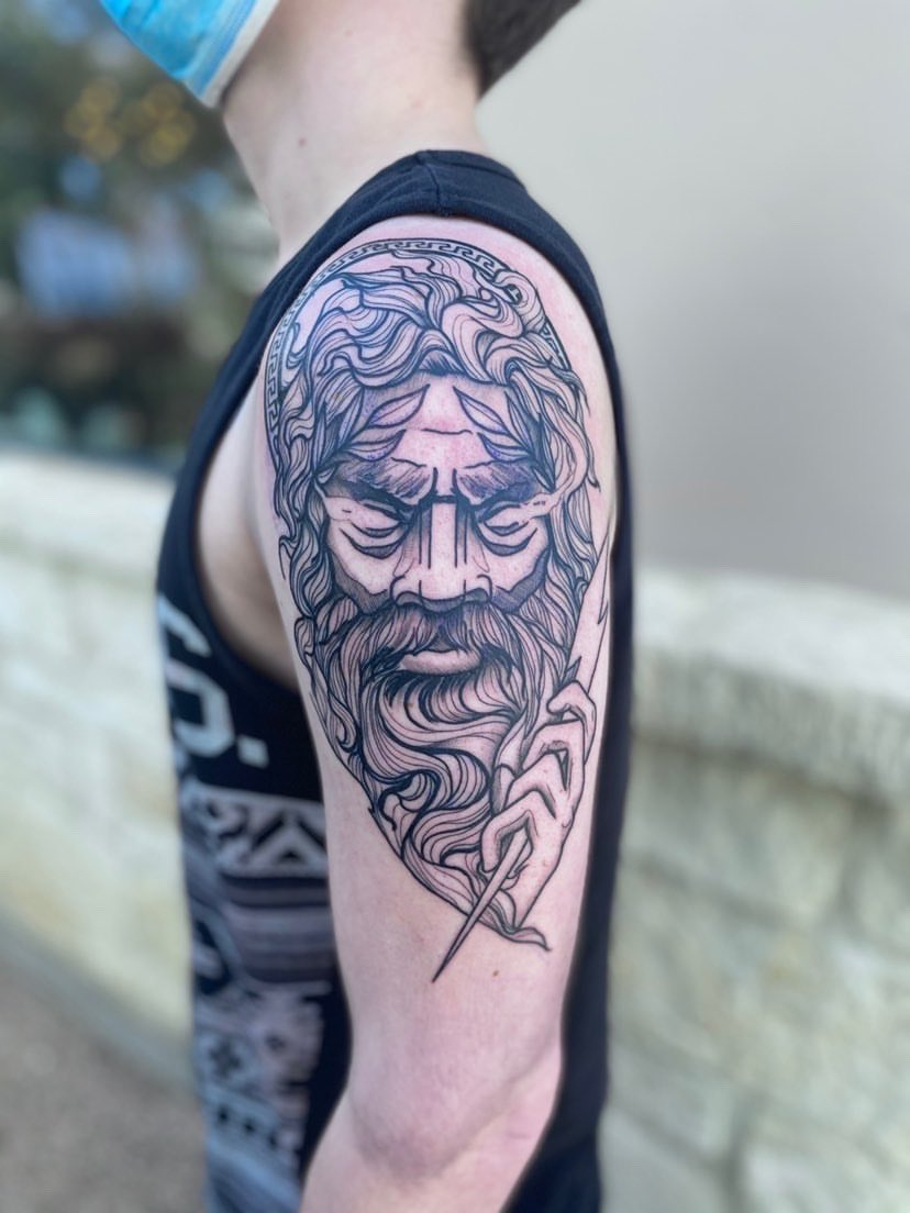 My Zeus arm piece done by Lacey at Boerne Tattoo Company in SA, TX.