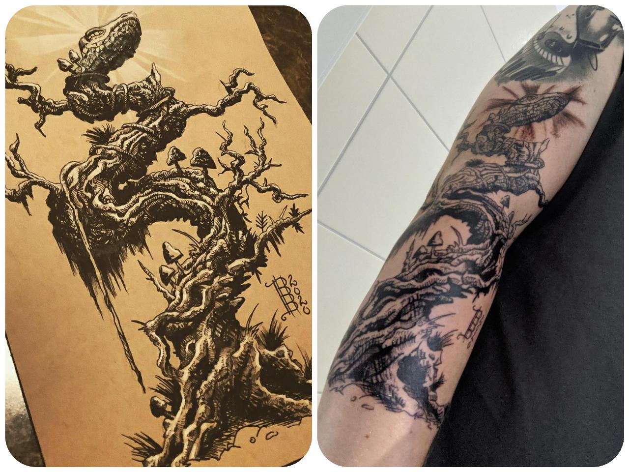 Someone got this illustration of mine tattooed!!! Im stoked. IG: @illustrationbybo