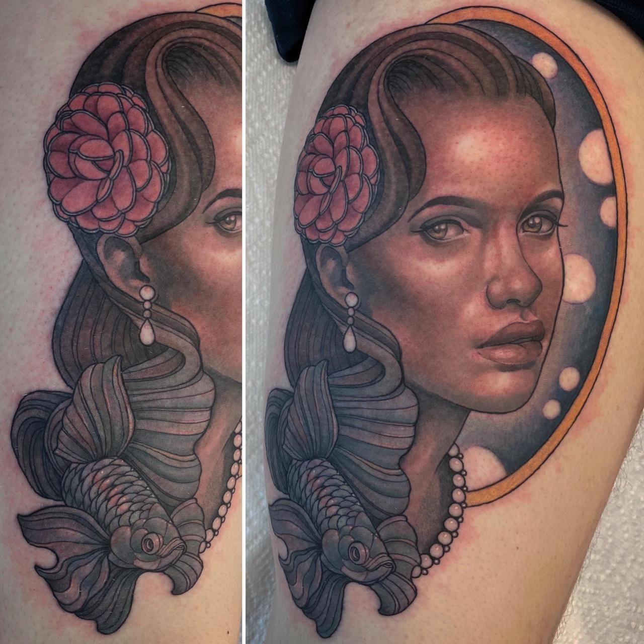 Neotraditional betta lady face by me Logan Bramlett Bespoke Tattoo Gallery Akron Ohio