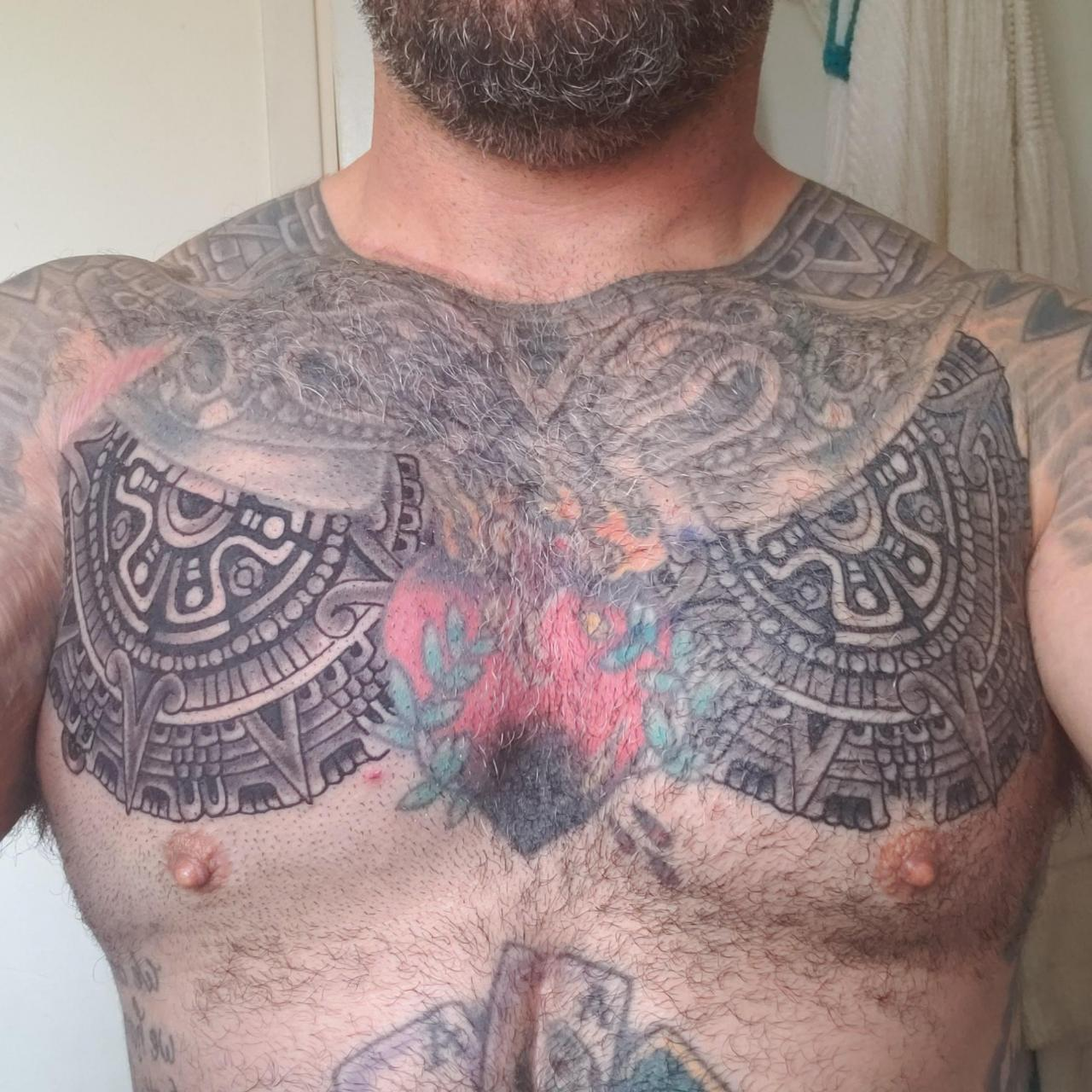 Chest plate complete. Work on connecting it to the shoulder is next. Port City Tattoo, Long Beach CA. My homie Tom of 20+ years is the owner and my tattoo artist. Blasting pretty much everything on me.