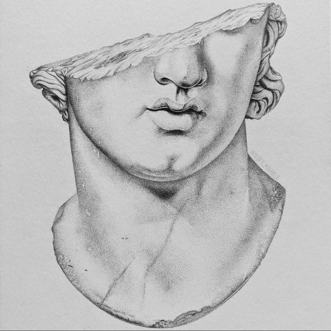 Study of Fragmentary Colossal Head of a Youth | Ink on HP Watercolour Paper | @soft_marble