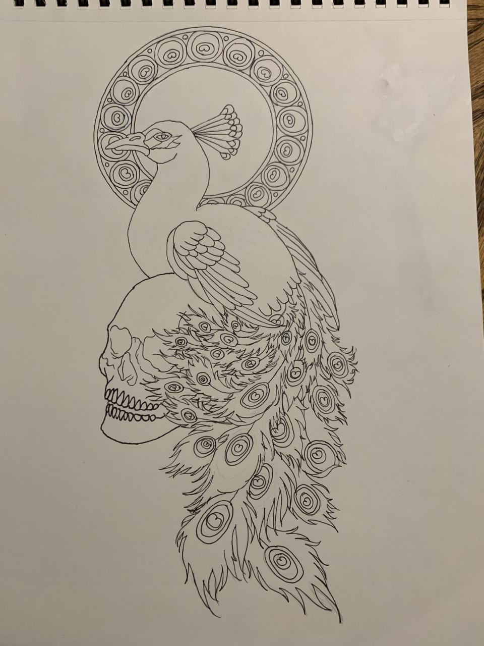 Art Nouveau peacock and skull. I'm really excited to get this done. Hopefully I'll get a chance to color it this weekend. I've wanted this done for a while.