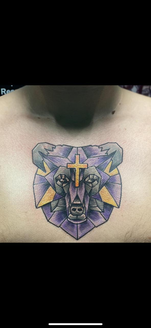 Geometric bear chest piece I got a few weeks ago