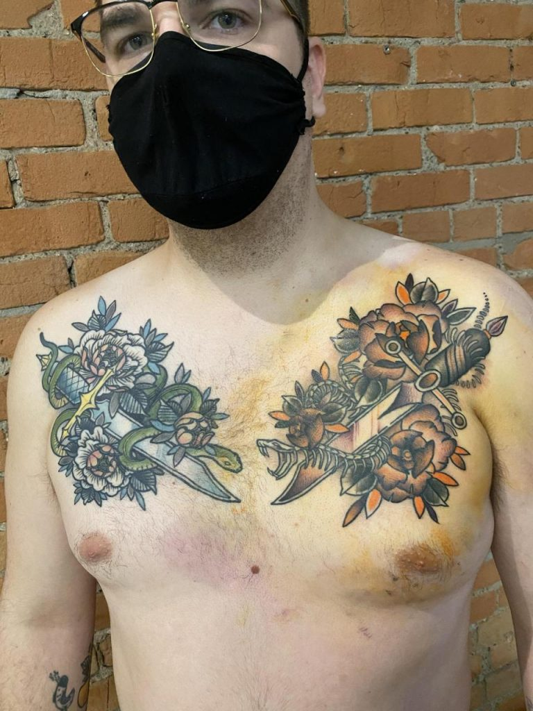 Full chest piece by Jodie Henrichs from Shades of Grey Tattoos, Edmonton, AB, CAN
