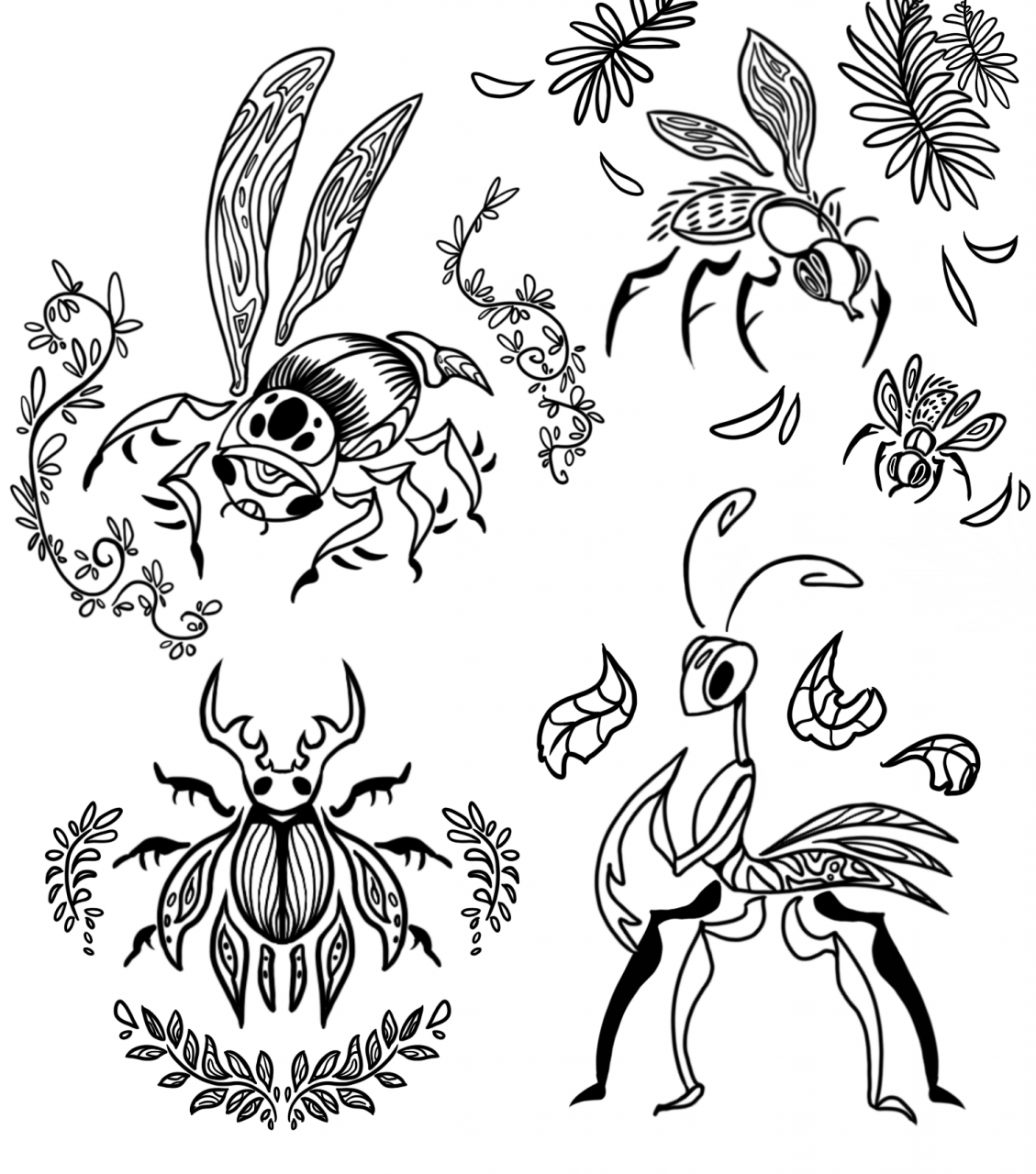 Abstract bugs tattoo designs [OC]