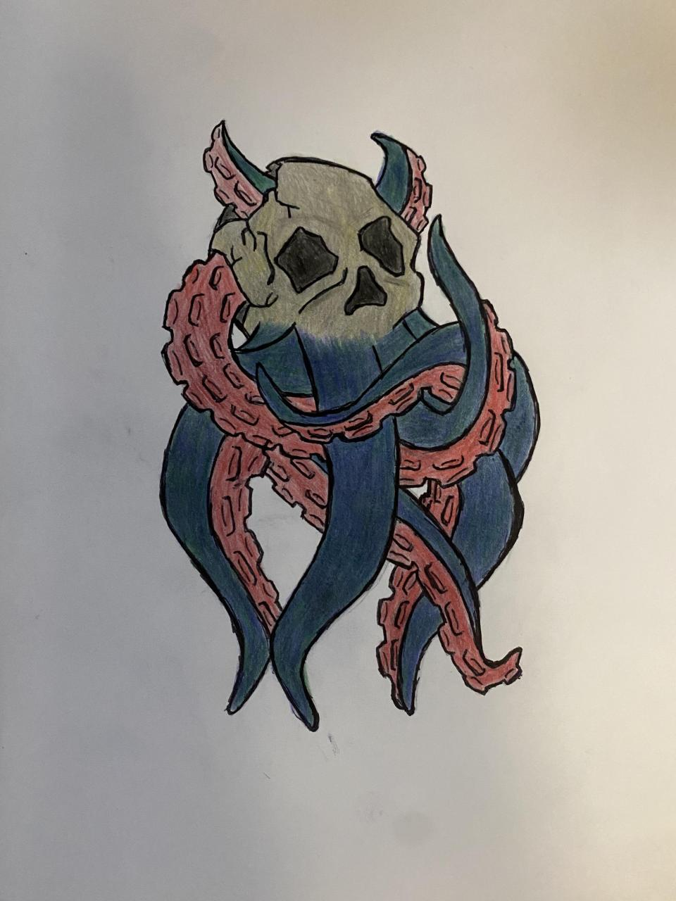 Design for a devil-skull octopus I drew, sorry about the out line my hands have tremors. Shaky lines aside, is this a cool design, if cleaned up by the steady hands of an artist? Color or black and gray?