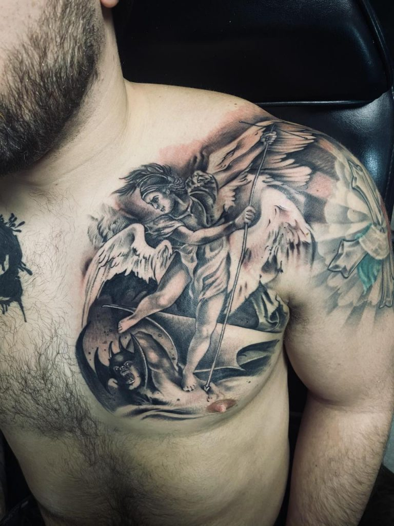 St Michael Chest piece. (Artist Instagram: jess_locks)