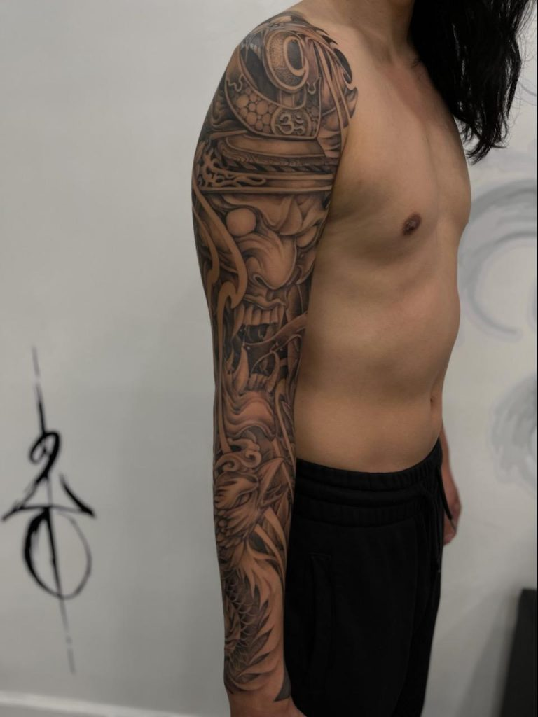 Full arm sleeve by Nha at Red Blossom in Garden Grove, CA