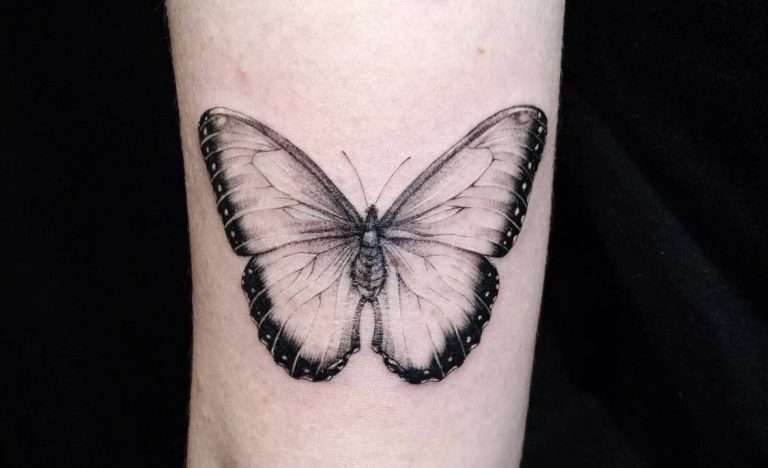 Blue Morpho butterfly on the back of my arm by Shelby at PARALLAX in San Jose, CA.