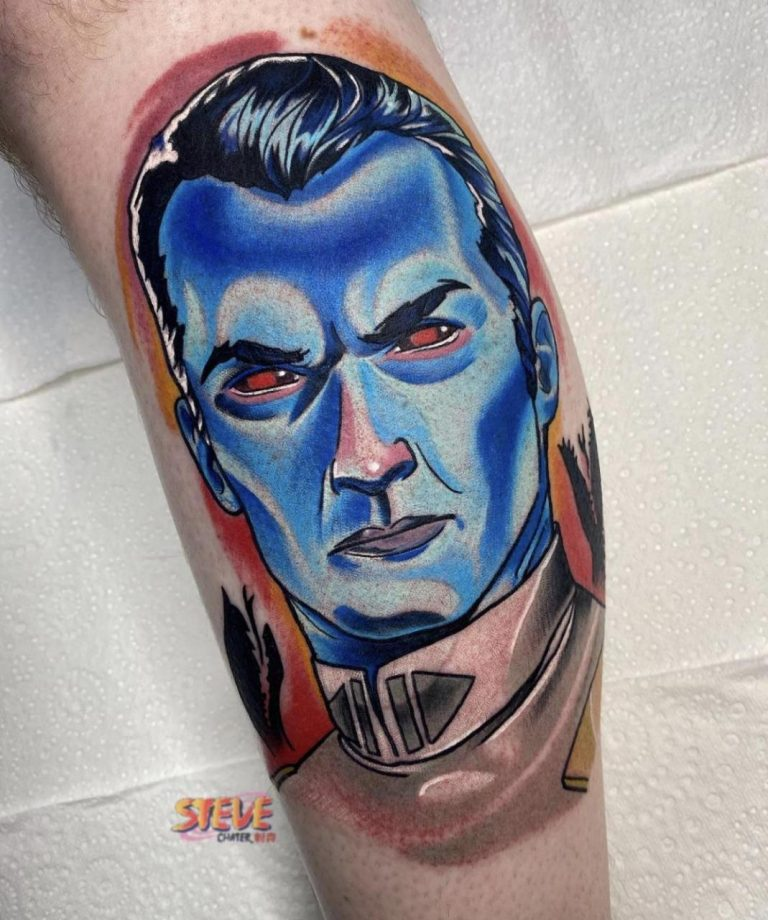 Grand Admiral Thrawn to start my Star Wars leg. Done by tattoos.by.steve at Warhorse Tattoo, QLD, Australia